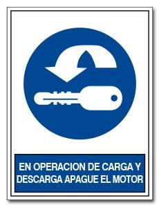 EN OPERACION DE CARGA Y DESCARGA APAGUE EL MOTOR
