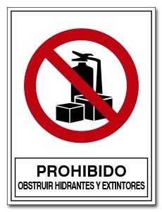 PROHIBIDO OBSTRUIR HIDRANTES Y EXTINTORES