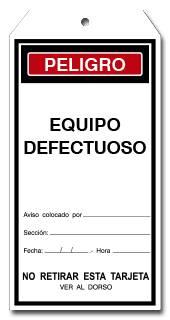 TARJETA EQUIPO DEFECTUOSO
